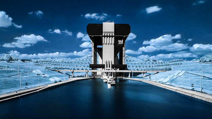 The Strépy-Thieu boat lift near Mons (Belgium) shot with infrared photography