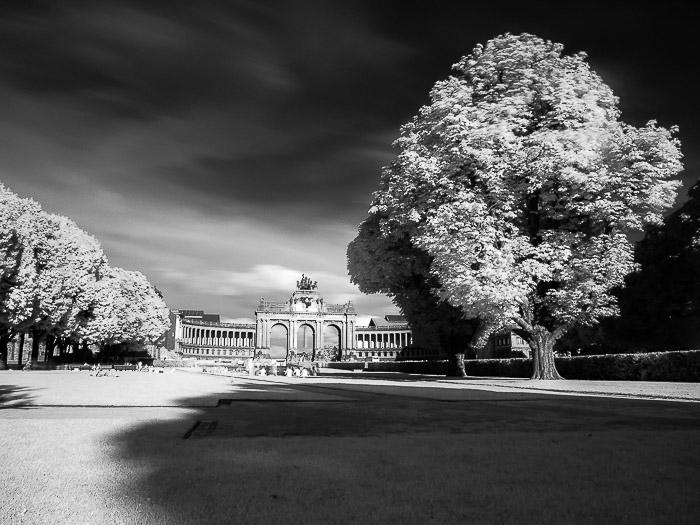 A monocrome infrared shot of Parc du Cinquantenaire in Brussels (Belgium)