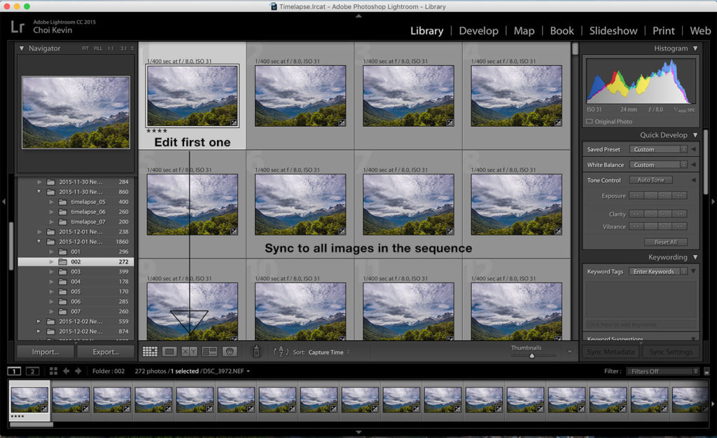 Time-lapse photography M mode edit