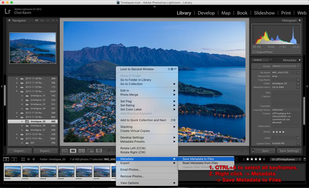 Time-lapse photography metadata save