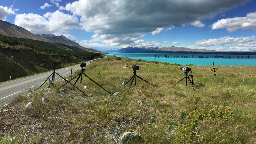Time-lapse photography tripod setup