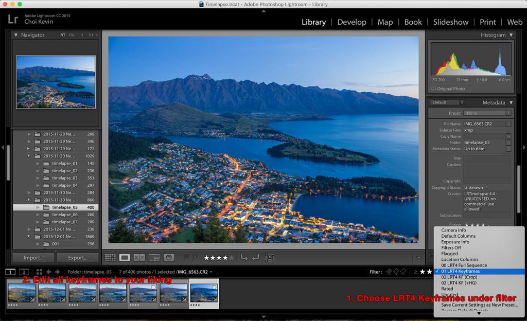 Time-lapse photography keyframes edit