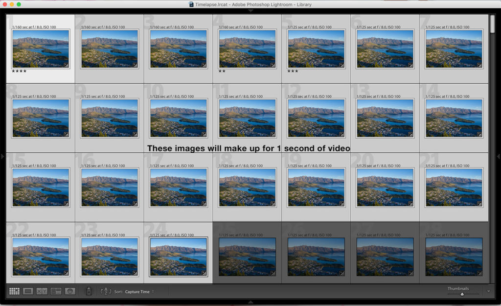 Time-lapse photography images 1 second
