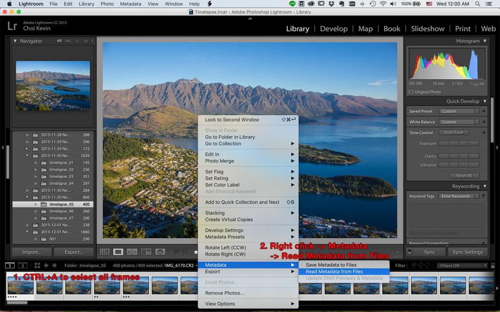 Time-lapse photography metadata