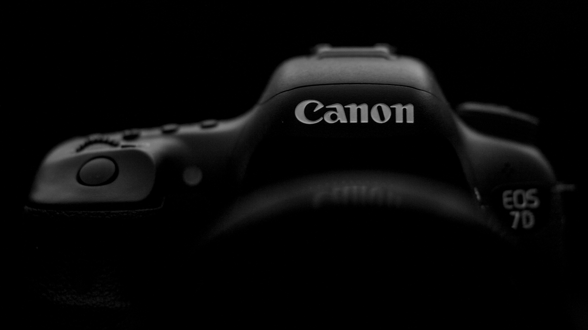 view from behind the camera, black background