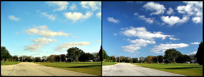 comparison of photos with and without polarizer on camera