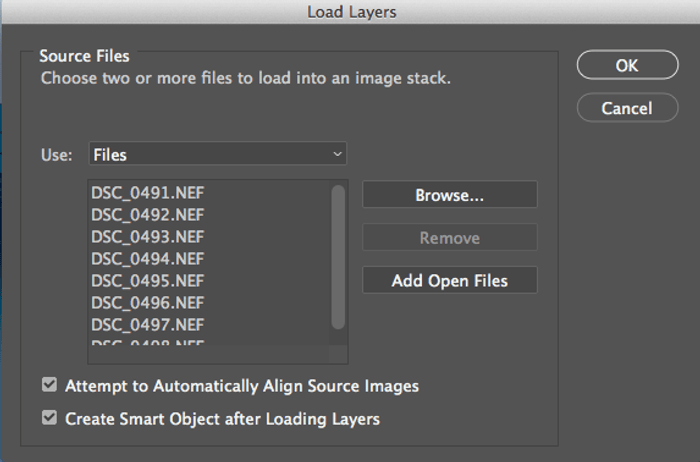 screenshot of loading layers in photoshop