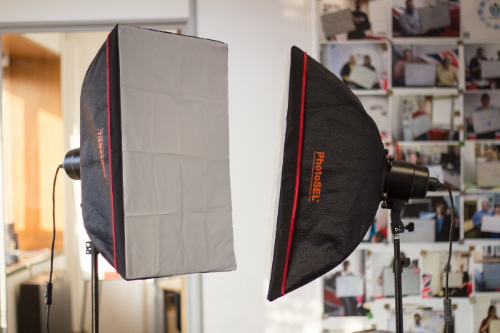 softboxes in studio