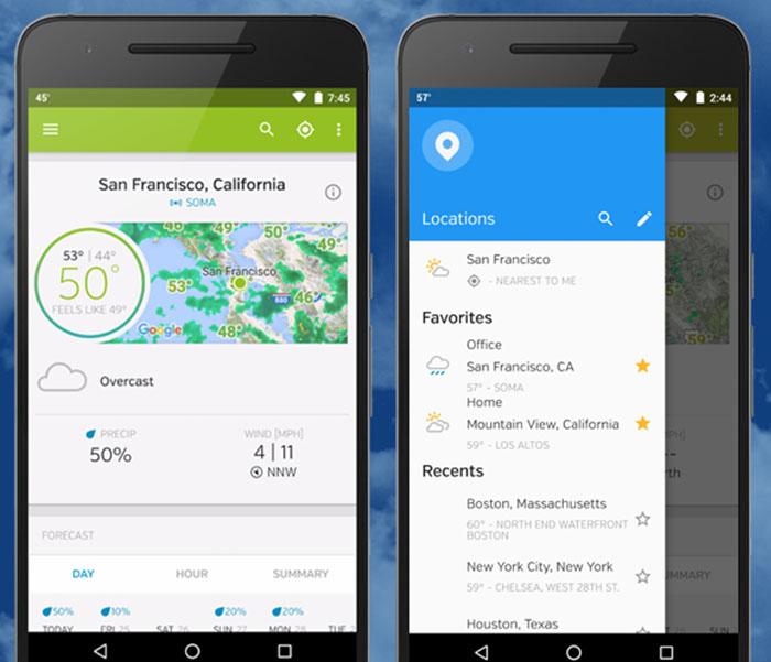 Screenshots from Weather Underground app