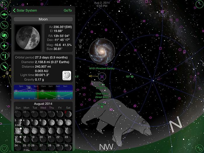 Screenshot of the GoSkyWatch Planetarium app