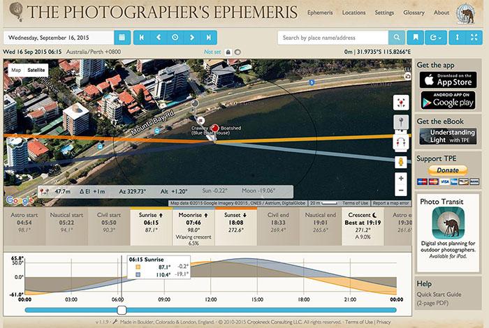 Screenshot of The Photographer's Ephemeris app