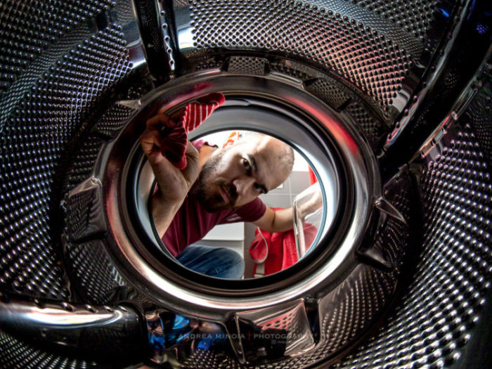 Fisheye Lens Photography: inside-washing-machine view
