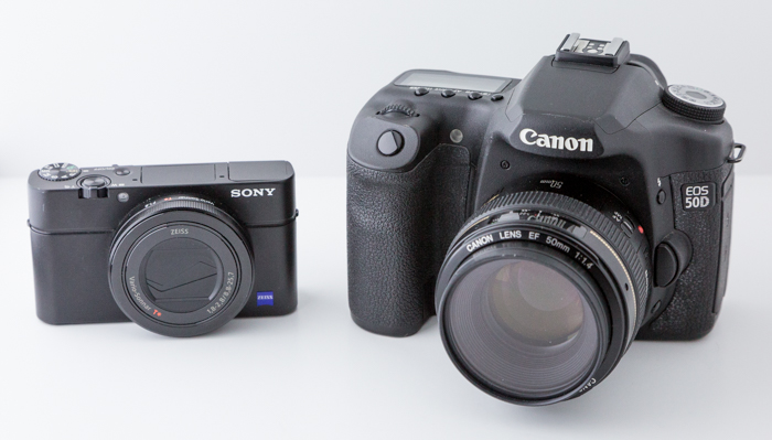 A sony mirrorless camera beside a canon dslr - mirrorless vs dslr