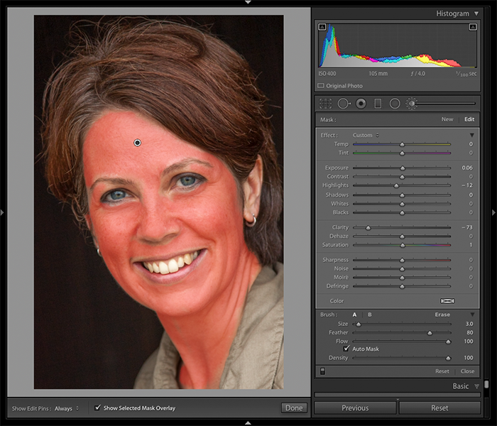 A screenshot of using mask overlay to edit portraits in Lightroom