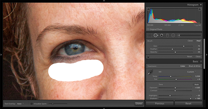 A screenshot of using Spot Removal Tool to retouch under-eye bags in Lightroom