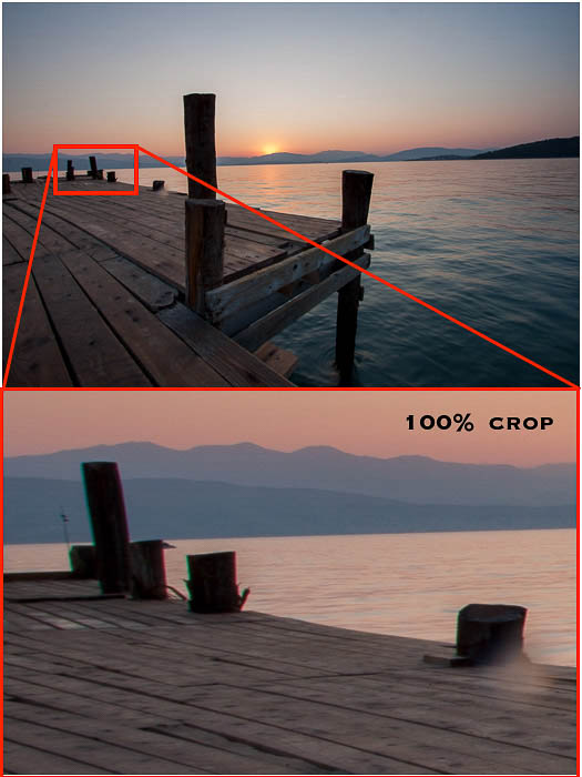 Cropping into an image to show chromatic aberrations