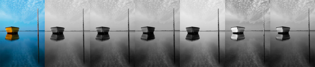 Example images of boat on water with various colour filters applied