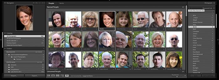 Screenshot of People View in Adobe Lightroom