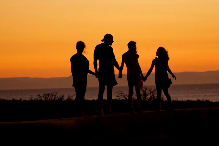The silhouette of a family of four aginst a sunset sky
