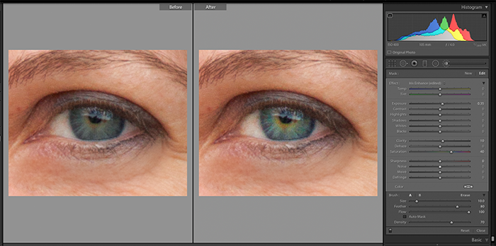 Screenshot of using Adjustment Brush Iris Enhance to edit a portrait in Lightroom