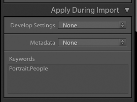 Example of applying keywords in Apply During Import panel in Adobe Lightroom