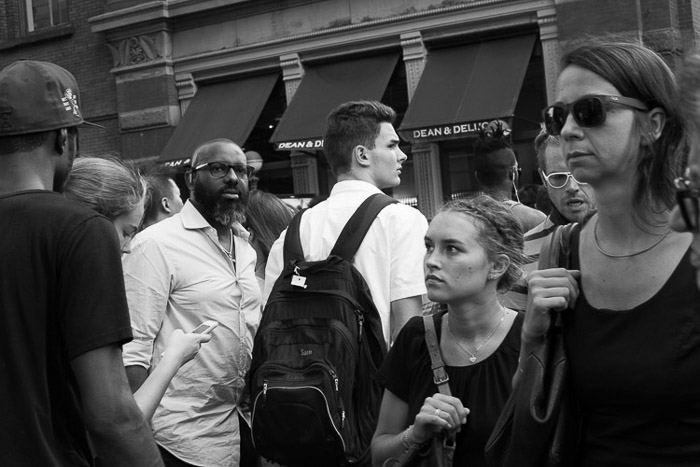 Black and white candid photography street scene