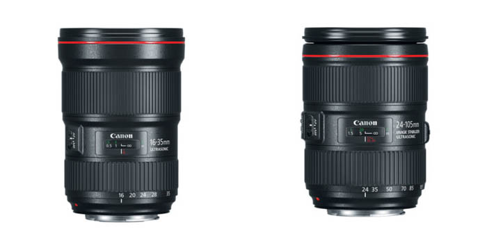 Lens selection is critical for landscape photography. Example of Canon lenses