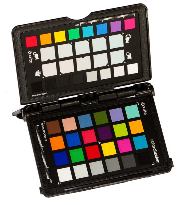 X-Rite color checker on white background