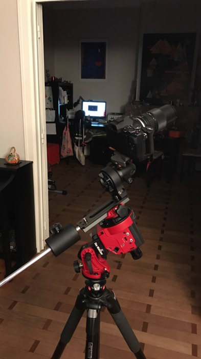 Tripods for Landscape Photography: Example of camera mounted on tripod for astrophotography