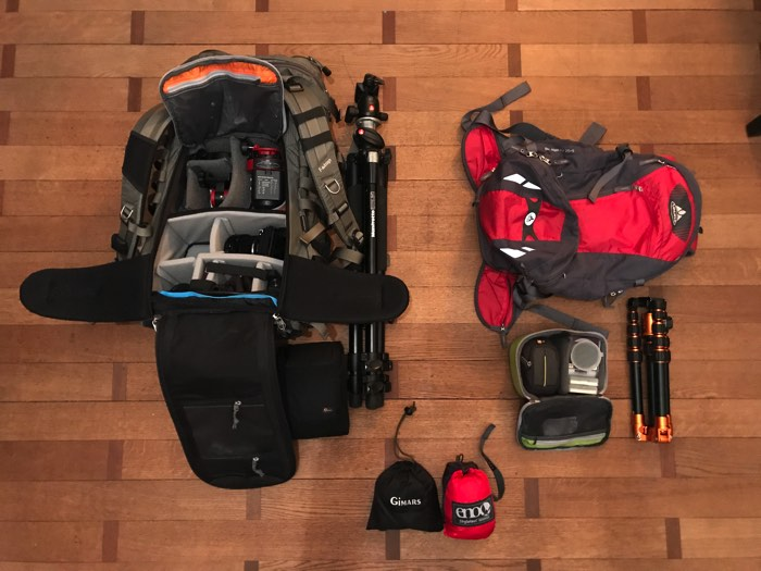 Landscape photography gear: Author's personal backpacks, tripods, cases, hammocks, etc.