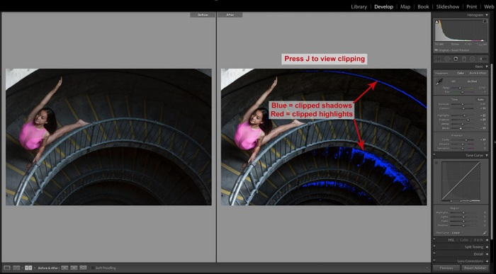 Screenshot of using Lightroom Keyboard shortcuts to editing a photo of a little girl posing on a stairs