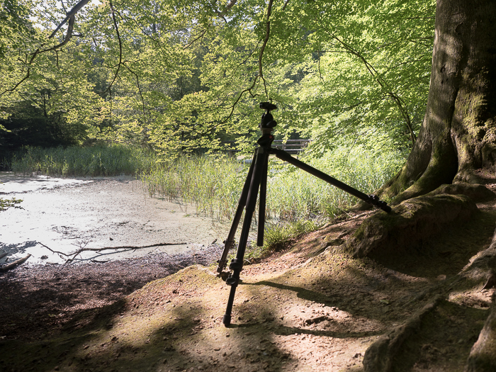 Tripods for Landscape Photography: Tripod with independent legs set up on uneven terrain