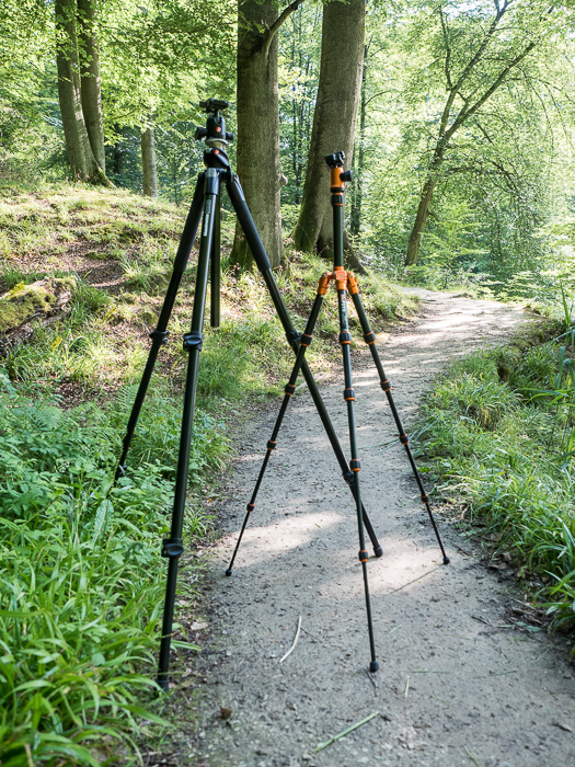 Tripods for Landscape Photography: Comparison of full-size and compact/travel tripod, open