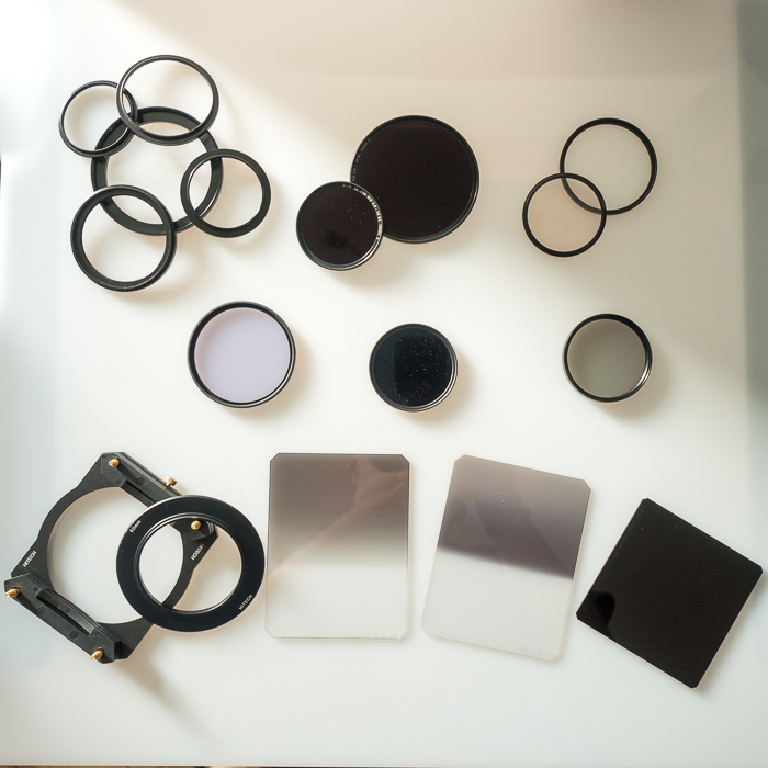 Landscape photography gear: Selected filters, adaptor rings, etc. from author's personal collection