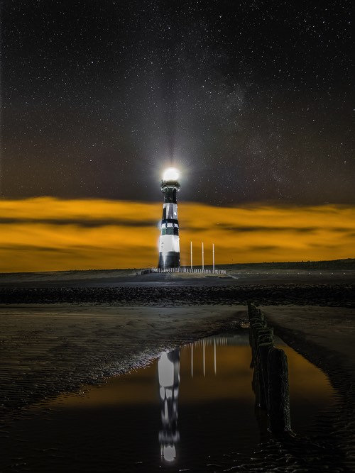 Tripods for Landscape Photography: Image of lighthouse at night taken with tripod
