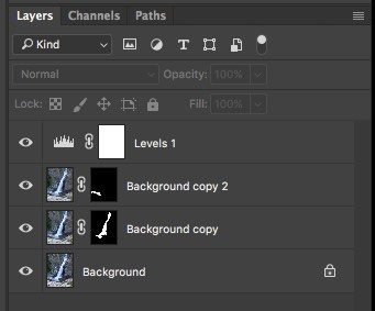 Filters for landscape photography: Screenshot of level and mask applied in Photoshop