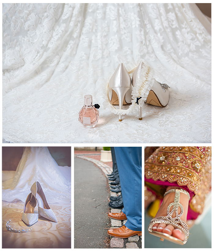 Photographing wedding details: Collage of wedding shoes shots