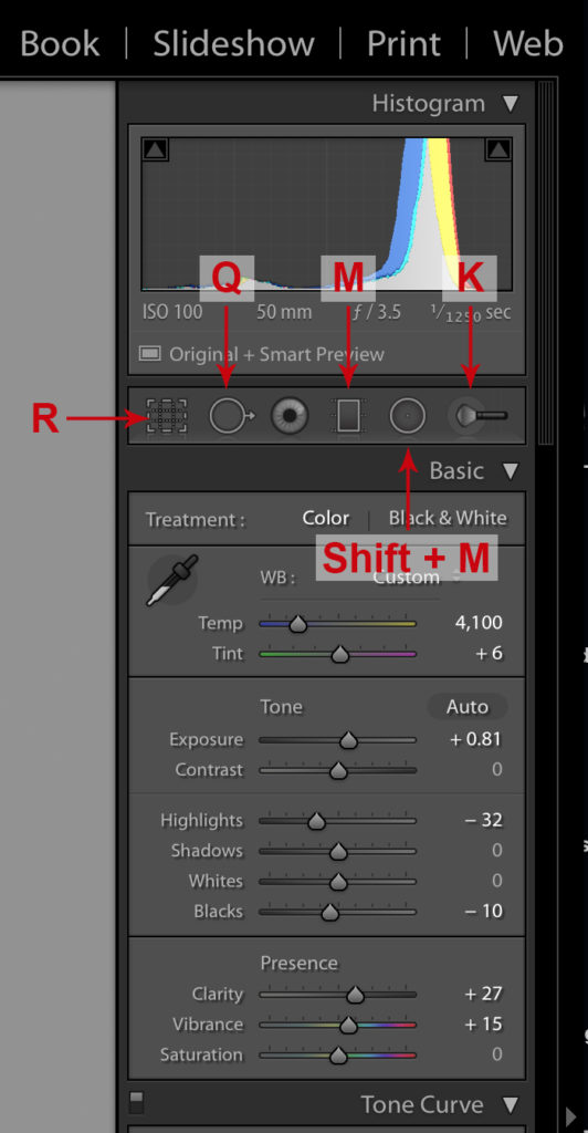 Lightroom Keyboard Shortcut: Crop and Brush Shortcuts Reference Image