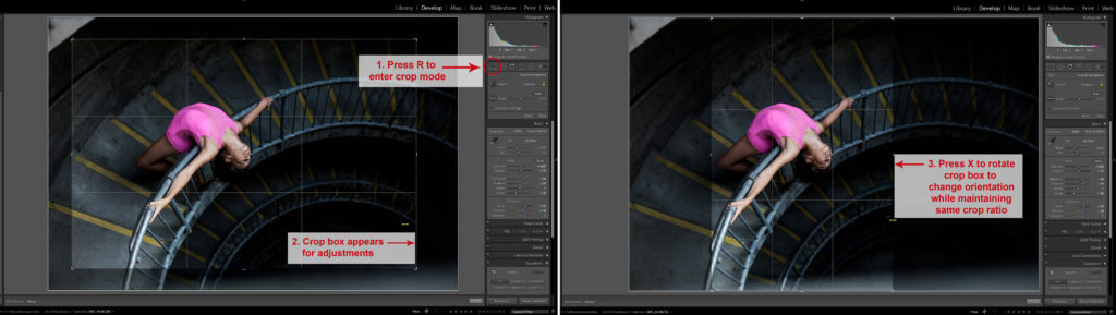 A screenshot of Lightroom Keyboard Shortcut: Crop Mode and Rotating Crop Orientation