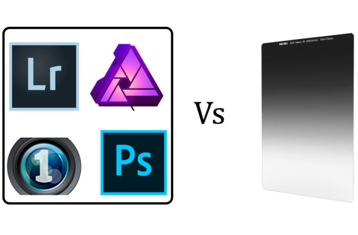 Filters for landscape photography: Graphic showing digital vs. physical filters