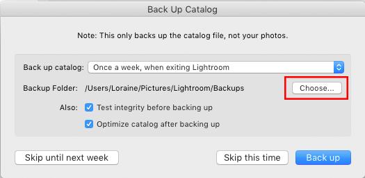 Understanding the Lightroom catalog: Selecting a destination for catalog backup