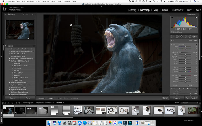 Blur the background in Lightroom: Using exposure tool in Lightroom to reveal problems with mask