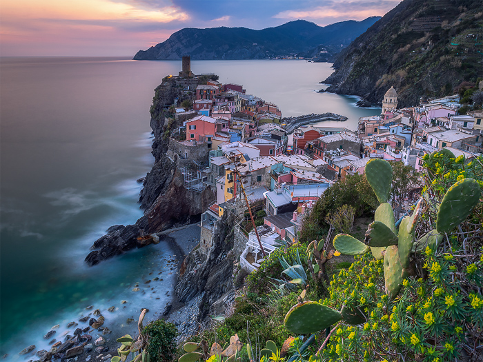 Long exposure photography of a coastal town and seascape in Italy. Long exposure landscapes