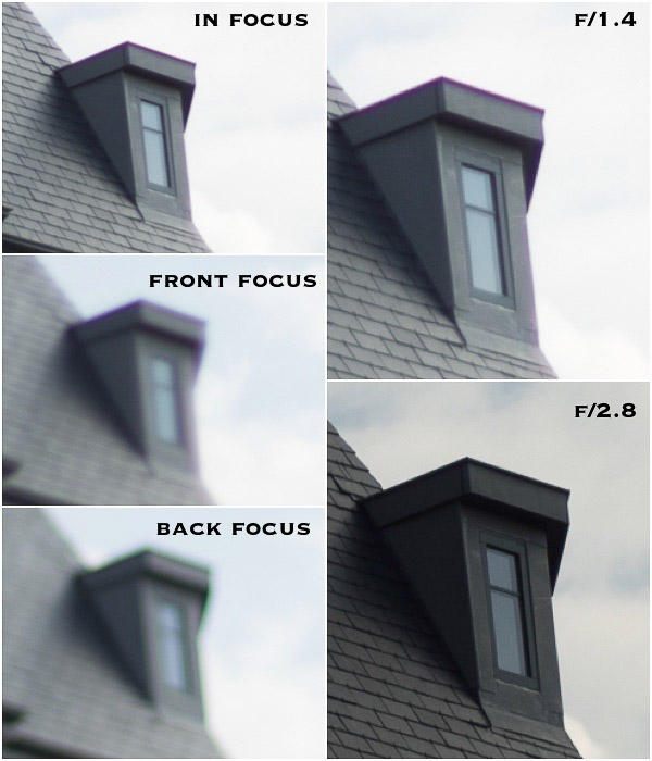 Photo grod showing how adjustments affect Chormatic Aberration on a photo of a garret window
