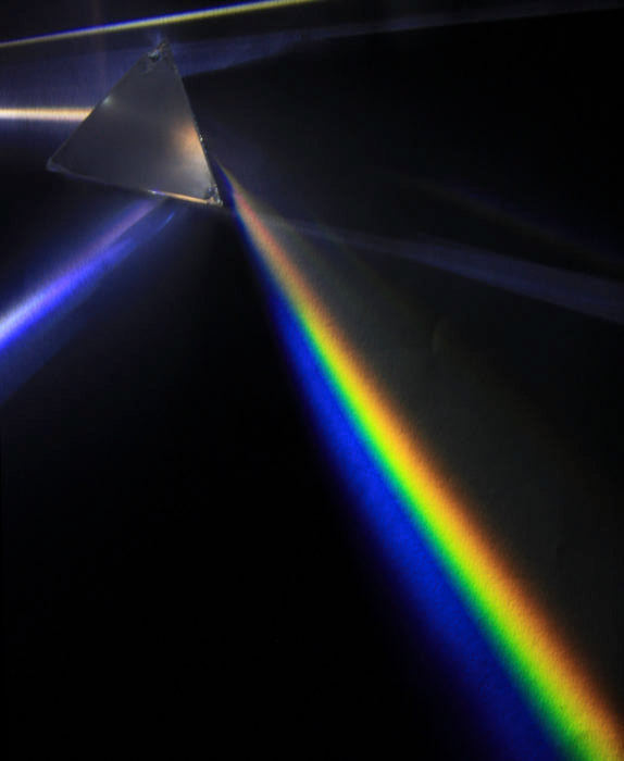 Image of white light rays passing through a prism resulting in a rainbow effect