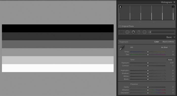 Example of Contrast Bars in Adobe Lightroom
