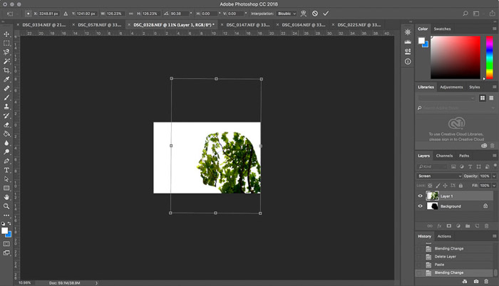 A screenshot of using the layers panel to create a double-exposure effect