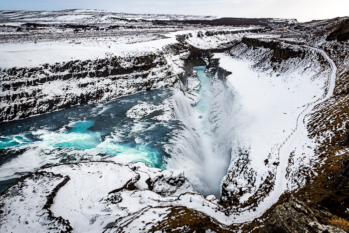 View over the Gulfoss Waterfall in Iceland