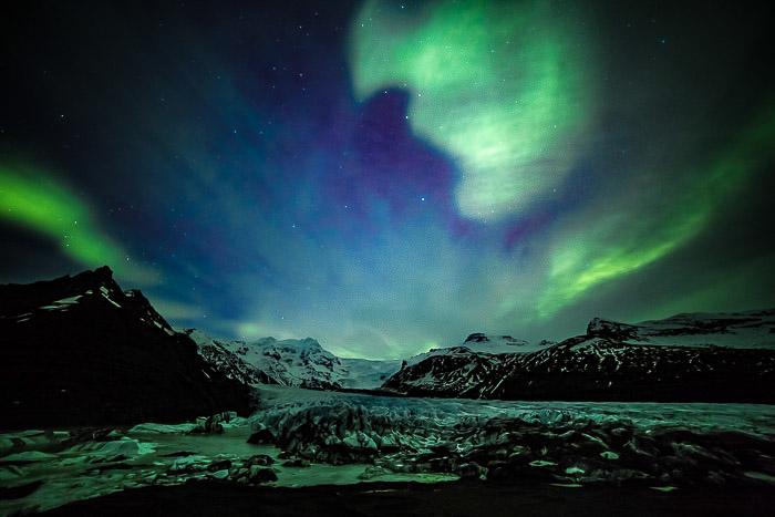 landscape picture of the Northern Lights, shot during Casey Kiernan's Iceland Photography Workshop
