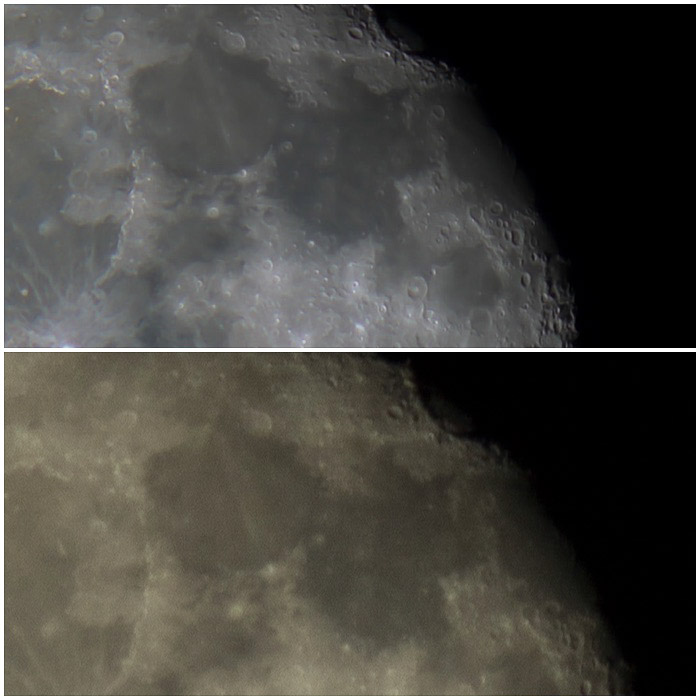 Diptych images taken from the same area of the moon